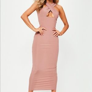 MissGuided Nude Ribbed Cross Front Ankle Dress